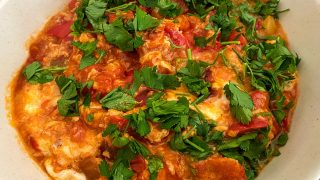 Fried peppers with tomatoes eggs and cheese1717