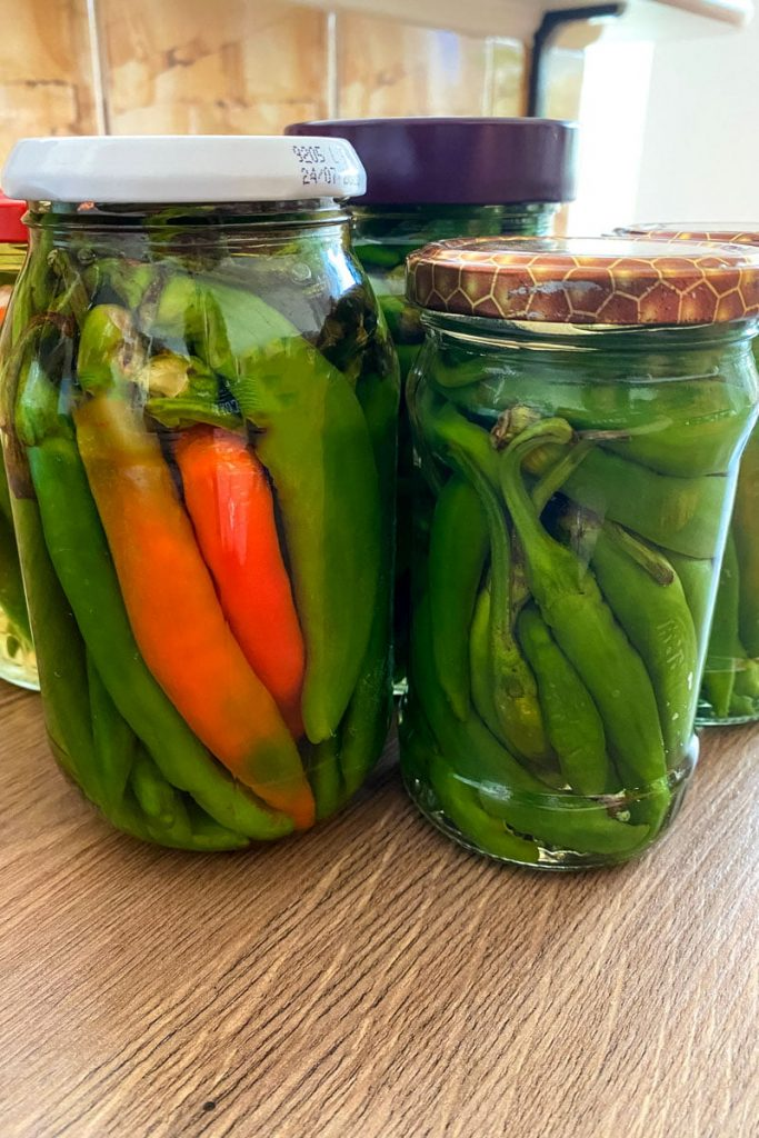 hot peppers in jars