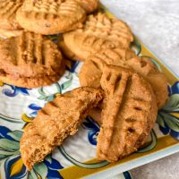 Peanut butter cookies on a serving tray square picture0