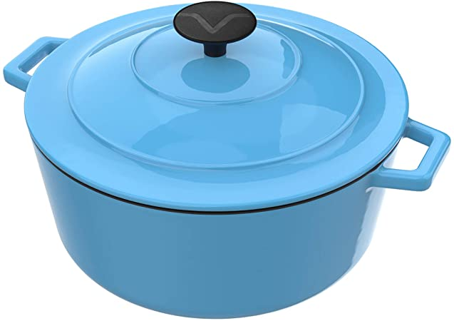 Enameled Cast Iron Dutch Oven Pot with Lid - 6 Quart Capacity  Blue