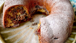 Cinnamon Swirl Coffee Cake on a platter square picture0