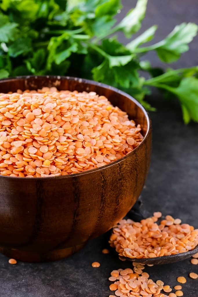 Uncooked Red Lentils for Dal Bhat