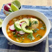 caldo de pollo served on white bowl Featured picture0