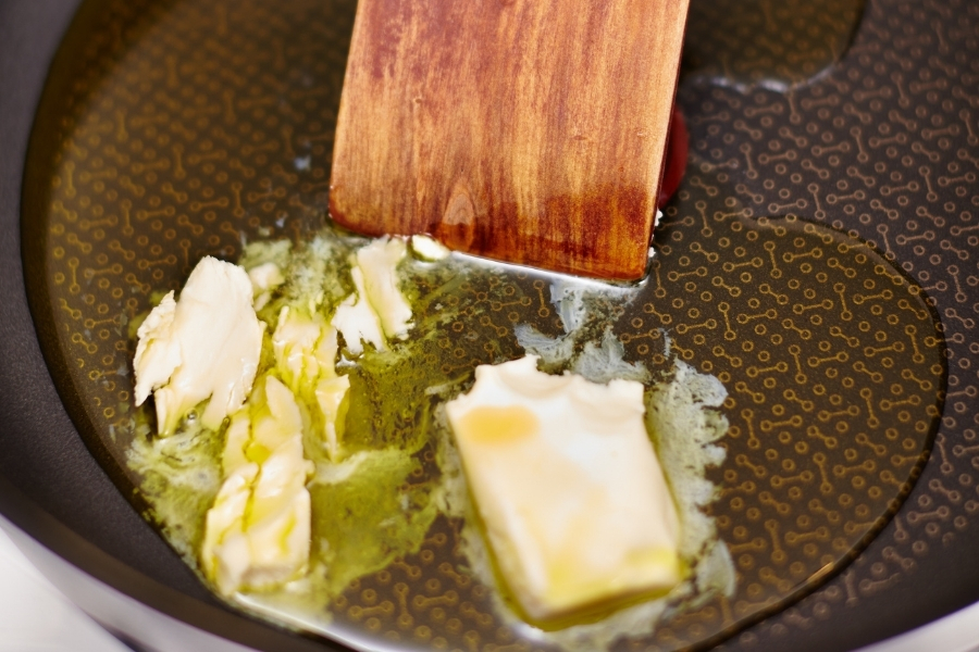 Copy of butter and oil melting in the pan