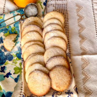 Lemon cream cheese cookies lined on platter Featured picture0