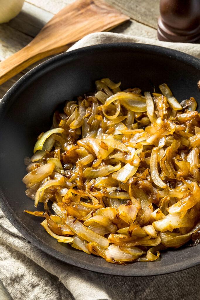 Caramelized onions on black skillet0