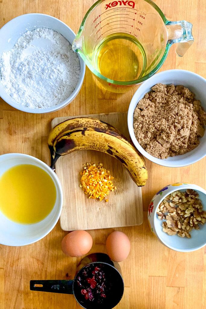 Ingredients for Cranberry Orange Banana Bread0