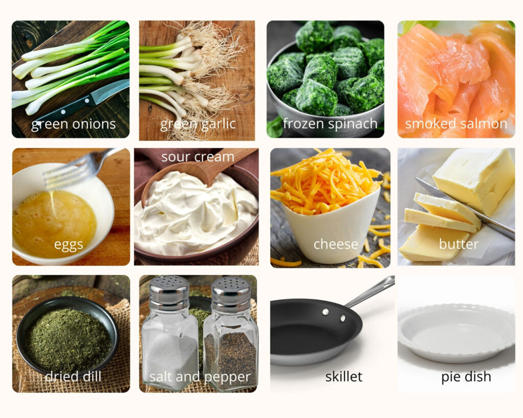 ingredients for the salmon and spinach quiche0