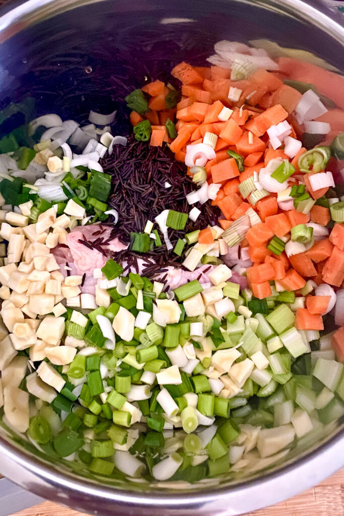 Chopped Ingredients for Instant Pot Chicken Wild Rice Soup0