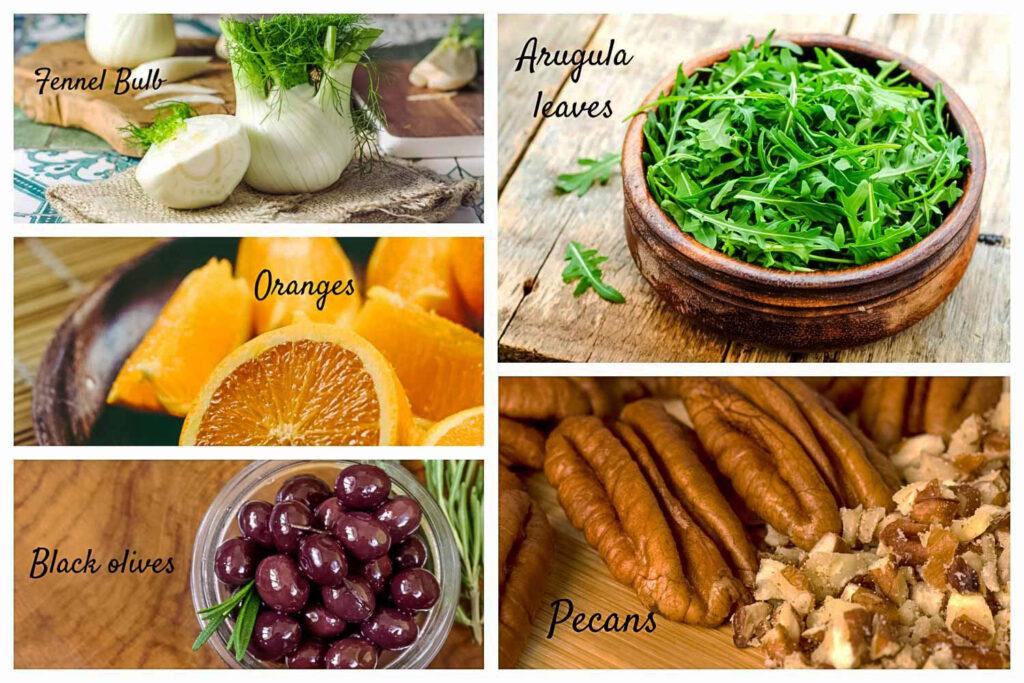Ingredients for orange fennel arugula salad0