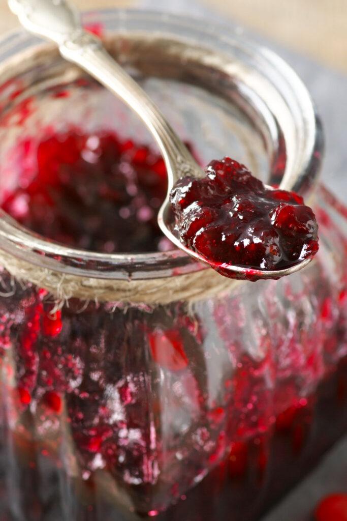 Cranberry jam in a teaspoon