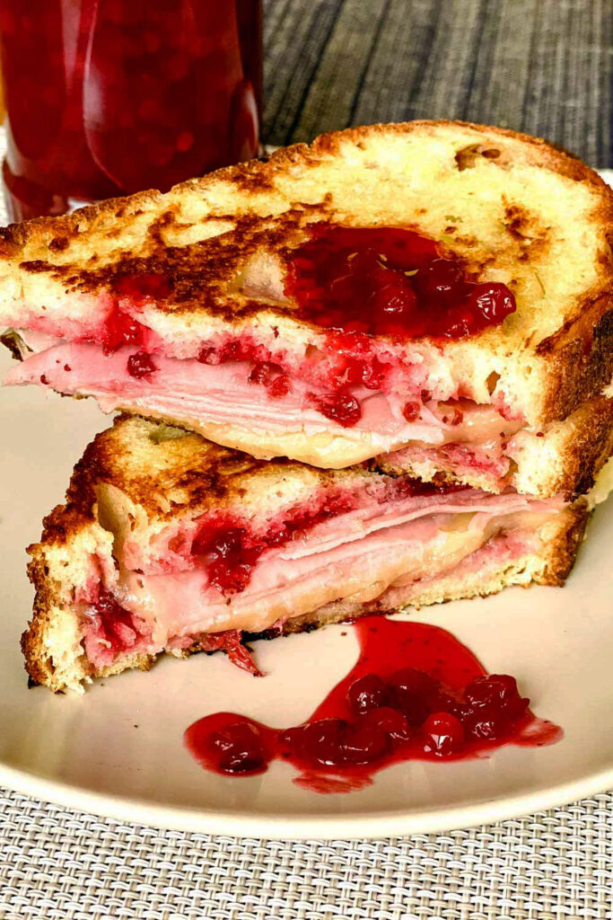 Grilled ham and cheese cranberry sandwich close up0