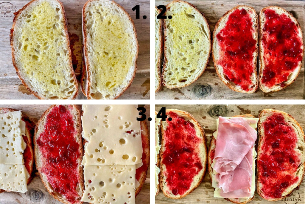How To Make Grilled Ham And Cheese Cranberry Sandwich 2