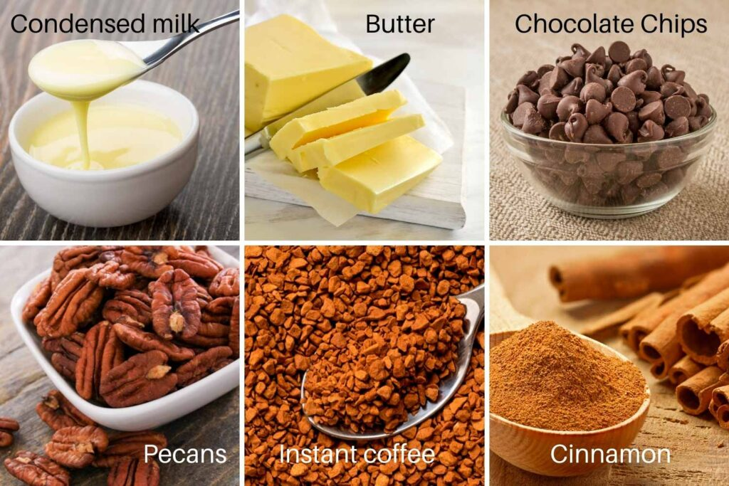 Ingredients for coffee fudge with pecans