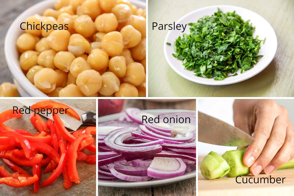 Ingredients for the spicy chickpeas salad22