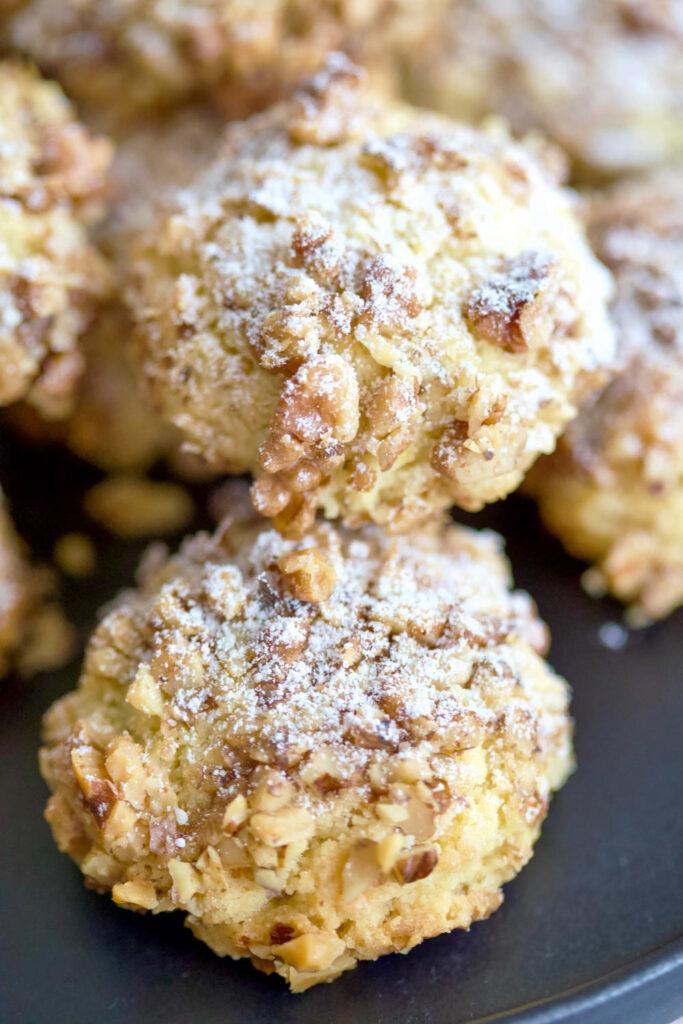 Walnut Shortbread Cookies close up