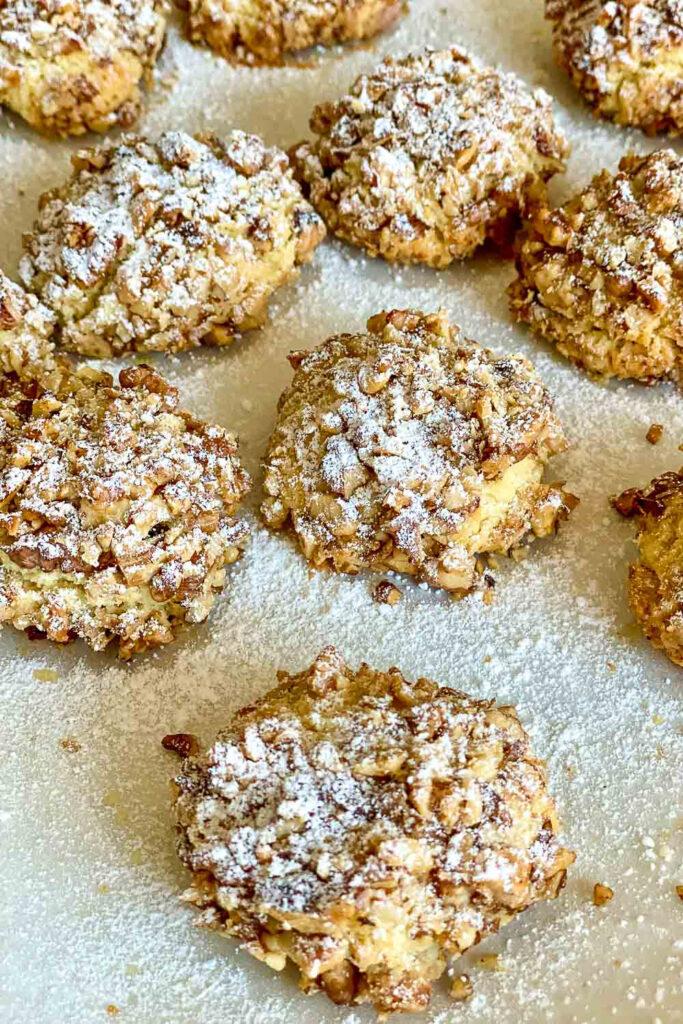 Walnut Shortbread Cookies with powder sugar on top0 1