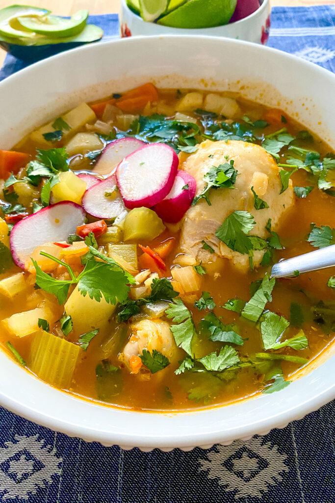 Caldo de Pollo Mexican Chicken Soup in a bowl0