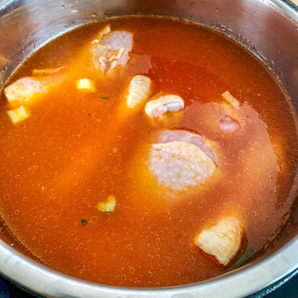 Caldo de Pollo ready for cooking0
